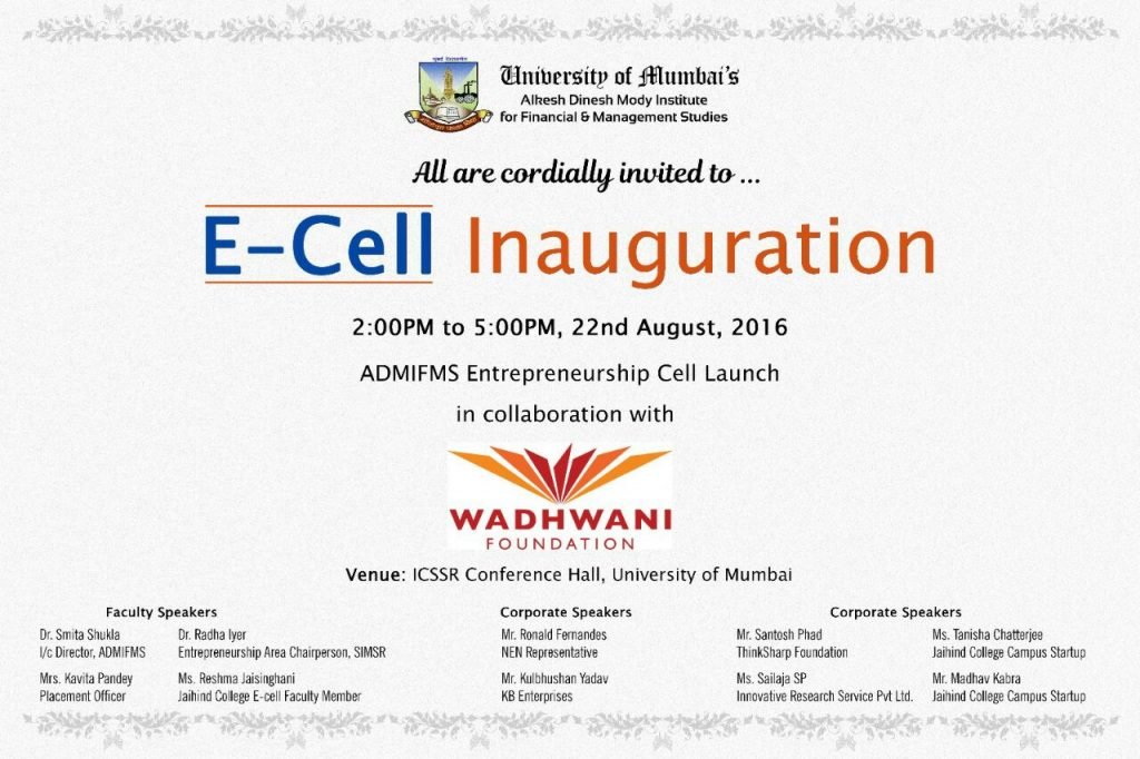 Mr.Santosh Phad as guest speaker at launch of E-Cell ADMI