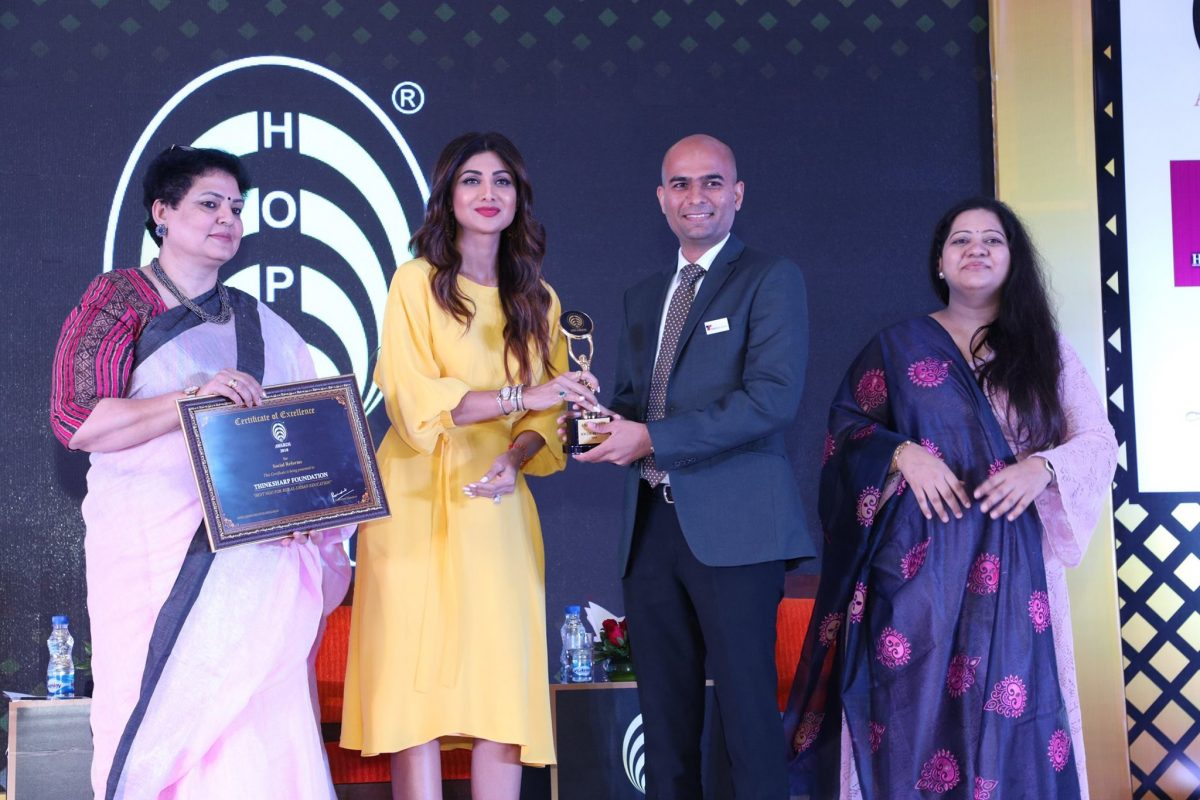 ThinkSharp Foundation awarded HOPE Award 2018 for Best NGO in India by Mrs.Shilpa Shetty Kundra